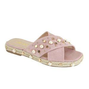 Mauve Studded Pearl & Stud Slide Sandals